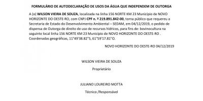 PEDIDO DE DISPENSA DE OUTORGA - WILSON VIEIRA DE SOUZA