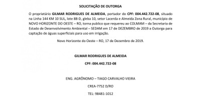 SOLICITAÇÃO DE OUTORGA - GILMAR RODRIGUES DE ALMEIDA