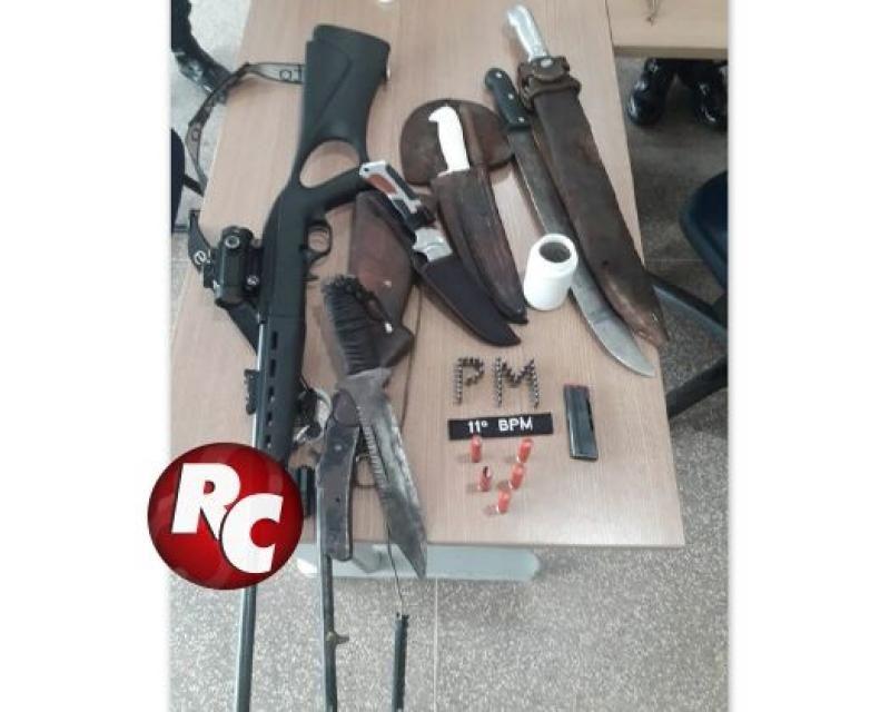 Policia prende dois homens com armas e carne de animal silvestre em Rondônia