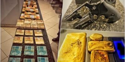 PRF faz grande apreensão de quase meio quilo de ouro, armas e mais de 100 mil em...