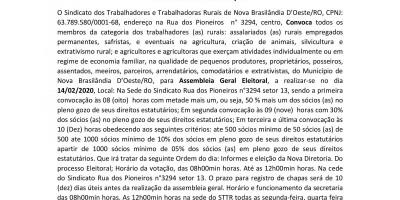 ATO EDITAL DE CONVOCAÇÃO  - Sindicato dos Trabalhadores e Trabalhadoras Rurais de Nova...