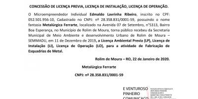 CONCESSÃO DE LICENÇA PREVIA, LICENÇA DE INSTALAÇÃO, LICENÇA DE OPERAÇÃO -...