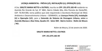 LICENÇA AMBIENTAL - PRÉVIA (LP), INSTALAÇÃO (LI), OPERAÇÃO (LO). - SIRLETE MARIA...