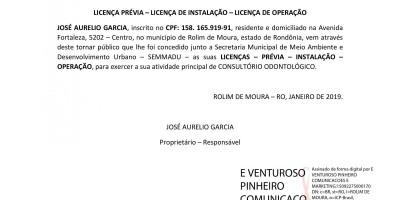 LICENÇA PRÉVIA – LICENÇA DE INSTALAÇÃO – LICENÇA DE OPERAÇÃO - JOSÉ AURELIO...