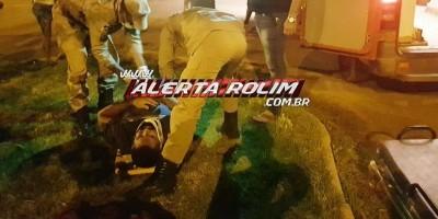 Motociclista sofre queda após passar por quebra-molas na Rua Brasflorest