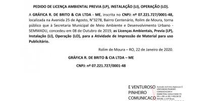 PEDIDO DE LICENÇA AMBIENTAL PREVIA (LP), INSTALAÇÃO (LI), OPERAÇÃO (LO). - GRÁFICA...