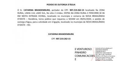 PEDIDO DE OUTORGA D'ÁGUA - CATARINA BRANDEMBURG