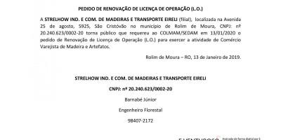 PEDIDO DE RENOVAÇÃO DE LICENÇA DE OPERAÇÃO - STRELHOW IND. E COM. DE MADEIRAS E...