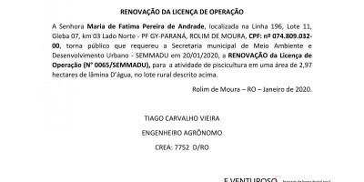 RENOVAÇÃO DA LICENÇA DE OPERAÇÃO - Maria de Fatima Pereira de Andrade