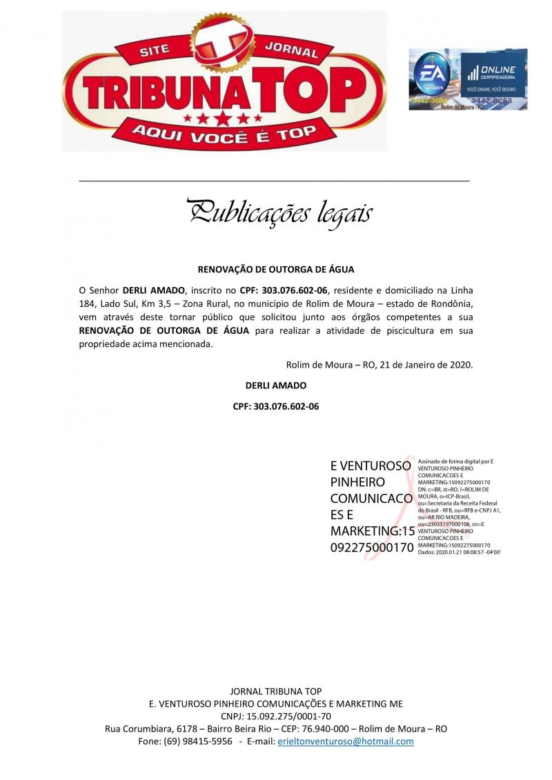 RENOVAÇAO DE OUTORGA DE AGUA - DERLI AMADO