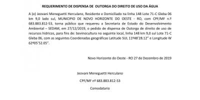 REQUERIMENTO DE DISPENSA DE  OUTORGA DO DIREITO DE USO DA ÁGUA - Jeovani Meneguetti...