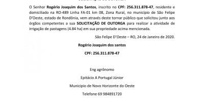 SOLICITAÇÃO DE OUTORGA - Rogério Joaquim dos Santos