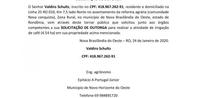 SOLICITAÇÃO DE OUTORGA - Valdiro Schultz