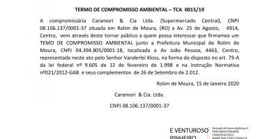 TERMO DE COMPROMISSO AMBIENTAL – TCA  0015/19
