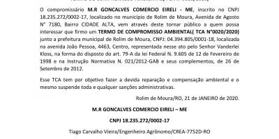 TERMO DE COMPROMISSO AMBIENTAL( TCA N°0020/2020) - M.R GONCALVES COMERCIO EIRELI - ME,