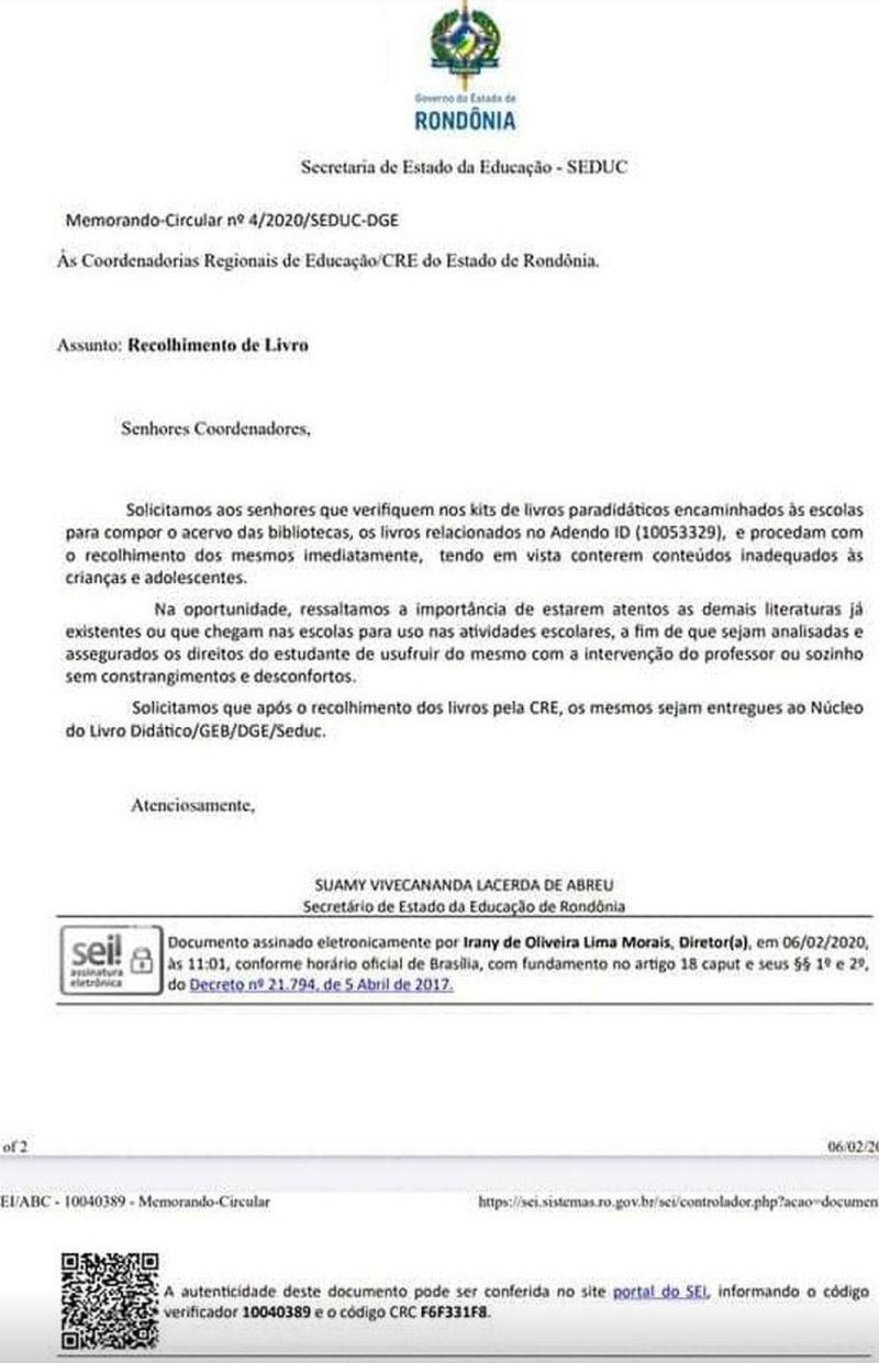 Documento da Secretaria de Educação de RO manda recolher de escolas
