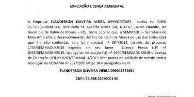 EXPEDIÇÃO LICENÇA AMBIENTAL - FLANDERSON OLIVEIRA VIEIRA