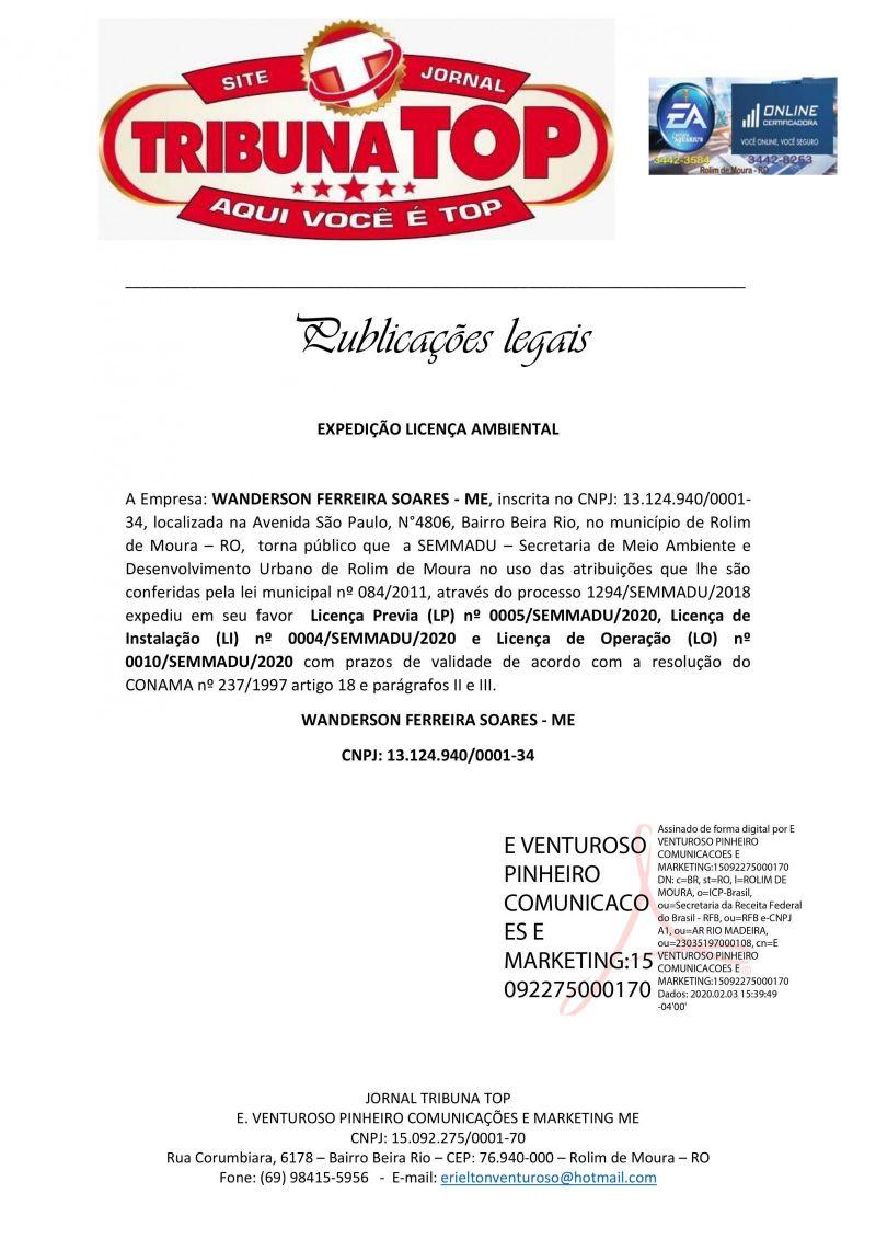 EXPEDIÇÃO LICENÇA AMBIENTAL  - WANDERSON FERREIRA SOARES - ME