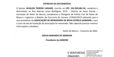EXTRAVIO DE DOCUMENTOS  - NIVALDO PEREIRE LAGASSE