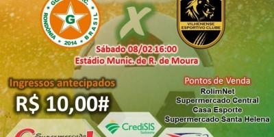 Ingressos antecipados para jogo Guaporé X Vilhenense custam 10 reais