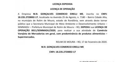 LICENÇA EXPEDIDA - LICENÇA DE OPERAÇÃO: M.R. GONÇALVES COMERCIO EIRELLI ME,