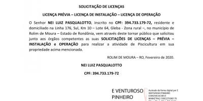 LICENÇA PRÉVIA – LICENÇA DE INSTALAÇÃO – LICENÇA DE OPERAÇÃO -  NEI LUIZ...