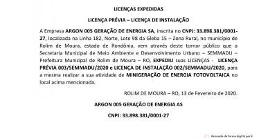 LICENÇAS EXPEDIDAS: LICENÇA PRÉVIA – LICENÇA DE INSTALAÇÃO - ARGON 005 GERAÇÃO...