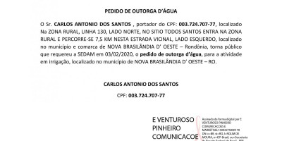 PEDIDO DE OUTORGA D'ÁGUA - CARLOS ANTONIO DOS SANTOS