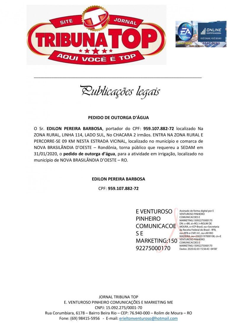 PEDIDO DE OUTORGA D'ÁGUA - EDILON PEREIRA BARBOSA