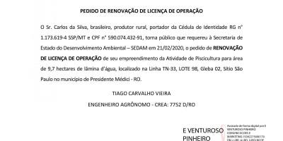 PEDIDO DE RENOVAÇÃO DE LICENÇA DE OPERAÇÃO - Carlos da Silva