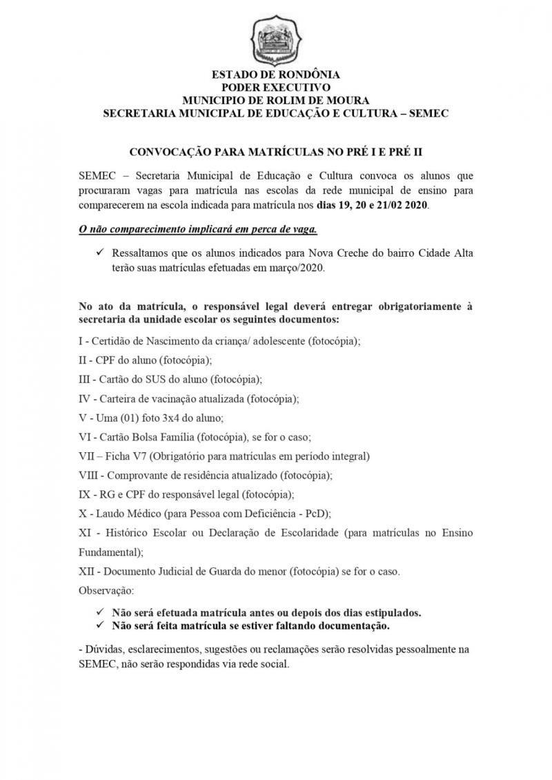 ROLIM DE MOURA: Convocação de alunos para matrícula Pré I e Pré II