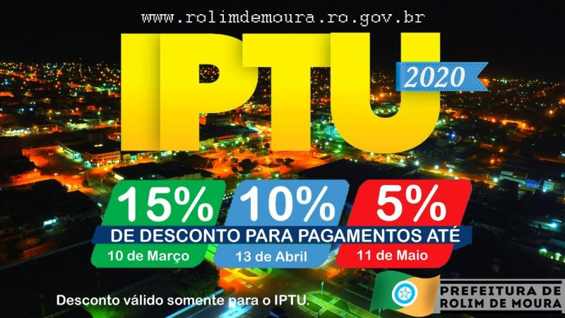 Rolimourense tem 15% de desconto no IPTU até 10 de março