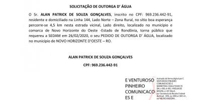 SOLICITAÇÃO DE OUTORGA D' ÁGUA - ALAN PATRICK DE SOUZA GONÇALVES,