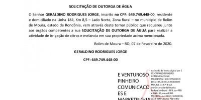 SOLICITAÇÃO DE OUTORGA DE ÁGUA - GERALDINO RODRIGUES JORGE