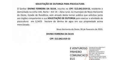 SOLICITAÇÃO DE OUTORGA PARA PISCICULTURA -DIVINO FERREIRA DA SILVA