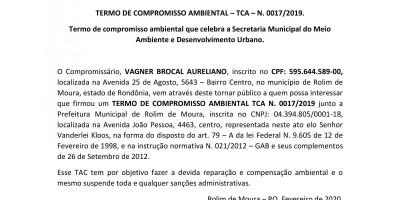 TERMO DE COMPROMISSO AMBIENTAL – TCA – N. 0017/2019 - VAGNER BROCAL AURELIANO