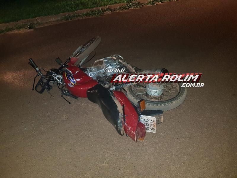 Motociclista fica ferido após avançar preferencial e se chocar contra viatura da Polícia Civil em Rolim de Moura