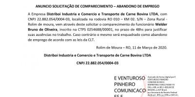 ANUNCIO SOLICITAÇÃO DE COMPARECIMENTO – ABANDONO DE EMPREGO - Welder Bruno de Oliveira