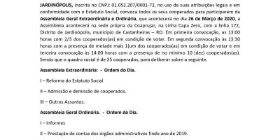 COOPERATIVA AGROPECUARIA DOS PRODUTORES RURAIS DE JARDINÓPOLIS - COAPRUJAR - EDITAL DE...