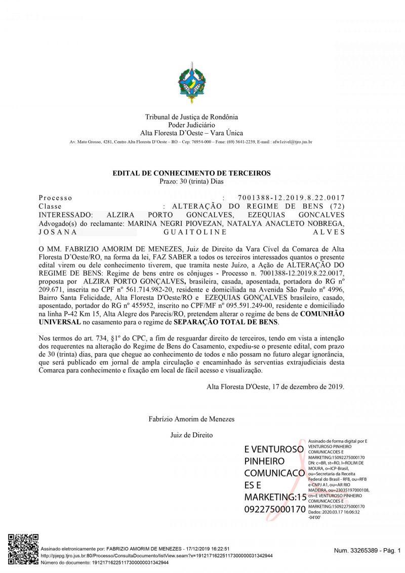 EDITAL DE CONHECIMENTO DE TERCEIROS