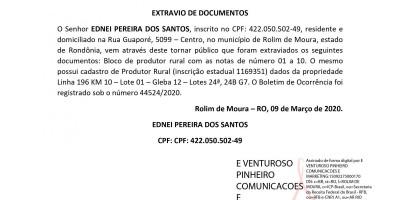 EXTRAVIO DE DOCUMENTOS - EDNEI PEREIRA DOS SANTOS