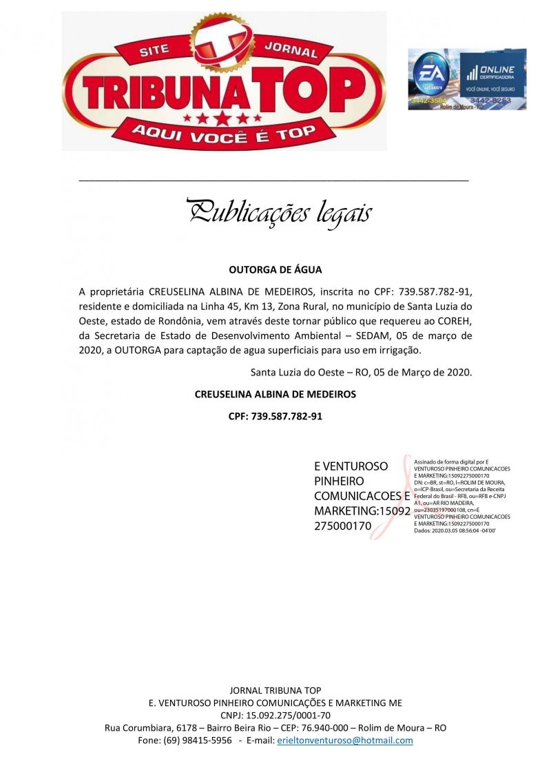 OUTORGA DE ÁGUA - CREUSELINA ALBINA DE MEDEIROS