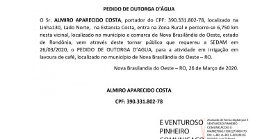 PEDIDO DE OUTORGA D'ÁGUA - ALMIRO APARECIDO COSTA,