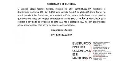 SOLICITAÇÃO DE OUTORGA - Diogo Gomes Tavora