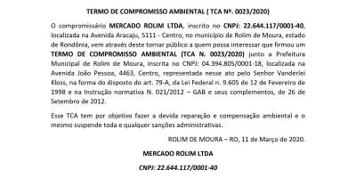 TERMO DE COMPROMISSO AMBIENTAL - MERCADO ROLIM LTDA