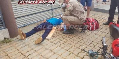 Motociclista é socorrido ao hospital com suspeita de fratura em Rolim de Moura