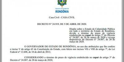 Governo mantém quarentena em RO até 20 de abril, mas municípios poderão tomar suas...