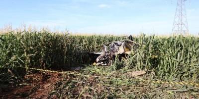 Avião pega fogo ao bater contra cabos de alta tensão e cair em fazenda no MT