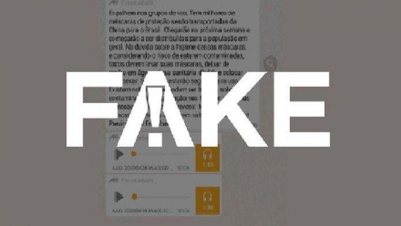 Mensagens de máscaras importadas da China contaminadas com o novo coronavírus é #FALSO