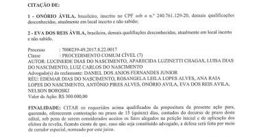 EDITAL DE CITAÇÃO - PROCESSO: 7000239.49.2017.8.22.0017